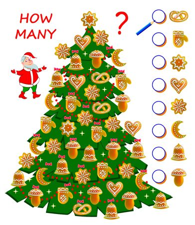 Math education for children. Count cakes quantity in Christmas tree. Write numbers in circles. Developing counting skills. Printable worksheet for kids book. Logic puzzle game. Vector cartoon image.