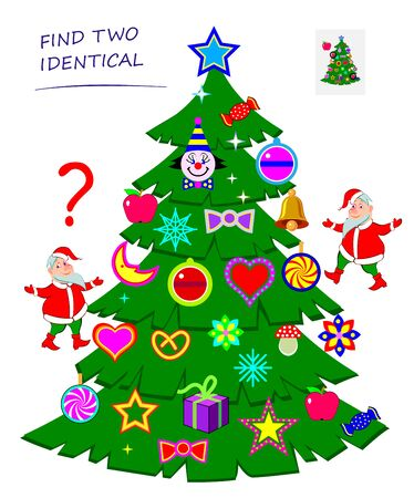 Find two identical toys in Christmas tree. Logic puzzle game for children and adults. Printable page for kids brain teaser book. Developing spatial thinking skills. IQ test. Vector cartoon image.