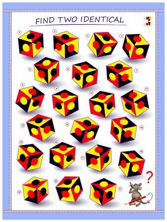 Need to find two identical cubes. Logic puzzle game for children and adults. Printable page for kids brain teaser book. Developing spatial thinking skills. IQ training test. Vector cartoon image.