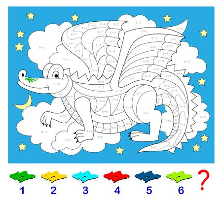 Math education for children. Coloring book. Mathematical exercises on addition and subtraction. Solve examples and paint the dragon. Developing counting skills. Printable worksheet for kids textbook.