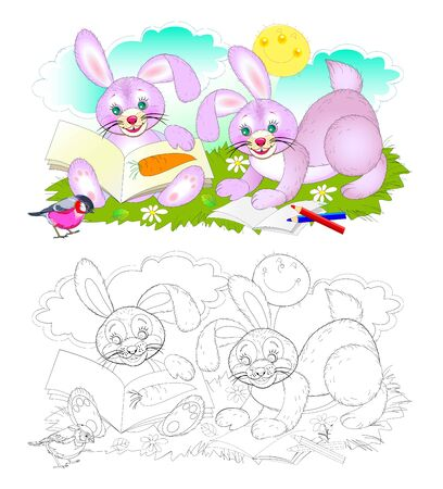 Colorful and black and white page for coloring book for kids. Illustration of two cute rabbits learning to read. Printable worksheet for children textbook. Back to school. Hand-drawn vector image. Stock Illustratie