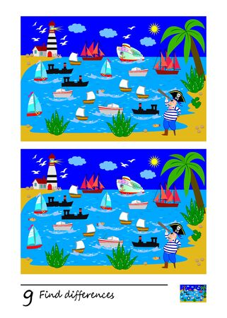 Find 9 differences. Illustration of sea bay, pirate and boats. Logic puzzle game for children and adults. Printable page for kids textbook. Developing counting skills. IQ test. Vector cartoon image.