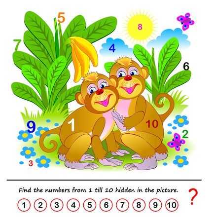Math education for children. Logic puzzle game. Find the numbers from 1 till 10 hidden in the picture. Developing counting skills. Printable worksheet for kids book. Illustration of two cute monkeys. Stock fotó - 136364765