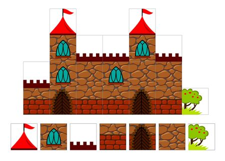 Set of 2d tileset for creating video game with medieval castle. Printable template for kids hardworking. Tiles with parts of stone building. Flat vector cartoon image for puzzle background. Stock Illustratie