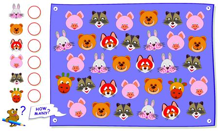 Educational worksheet for kids book. Count the quantity of animal heads and write the numbers in circles. Math education for children textbook. Logic puzzle game. Developing counting skills. 向量圖像