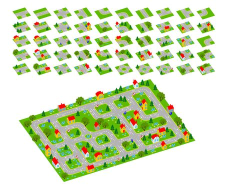 Set of 3d isometric tileset for creating video game with town and streets. Tiles with parts of roads and buildings for making platform map. Flat vector cartoon image for puzzle background.
