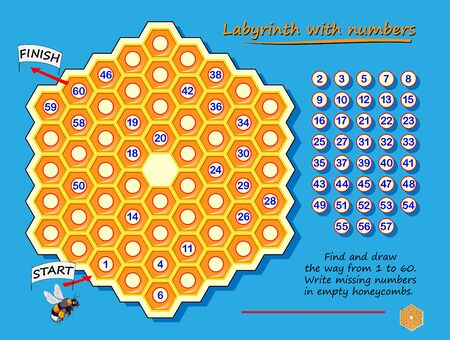 Labyrinth with numbers. Logic puzzle game with for children and adults. Find and draw the way from 1 to 60. Write missing numbers in empty honeycombs. Worksheet with maze for kids brain teaser book.