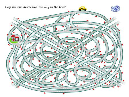 Logical puzzle game with labyrinth for children and adults. Help the taxi driver find the way to the hotel. Printable worksheet for kids brain teaser book. IQ test. Vector cartoon image.