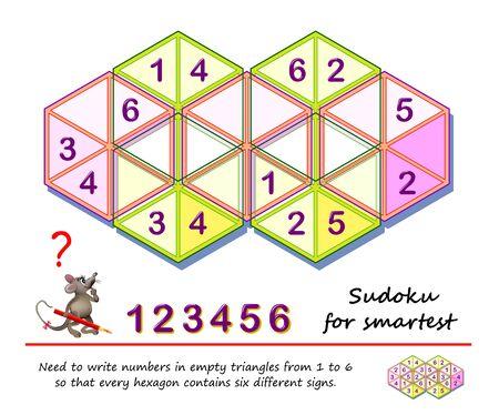 Juego de rompecabezas de lógica para los más inteligentes. Necesita escribir números en triángulos vacíos del 1 al 6 para que cada hexágono contenga seis signos diferentes. Página imprimible para el libro de rompecabezas para niños. Prueba de inteligencia.