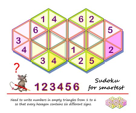 Logic puzzle game for the smartest. Need to write numbers in empty triangles from 1 to 6 so that every hexagon contains six different signs. Printable page for children brain teaser book. IQ test.