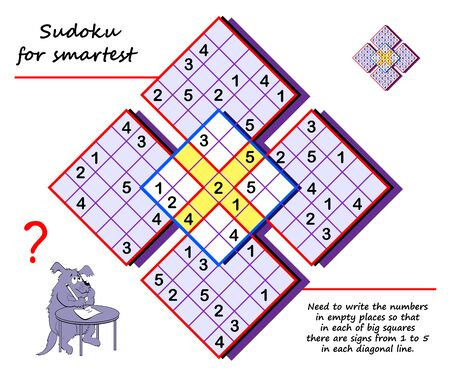 Logic Sudoku puzzle game for children and adults. Write numbers in empty places so that in each of big squares there are signs from 1 to 5 in each diagonal line. Printable page for brain teaser book. Stock Illustratie