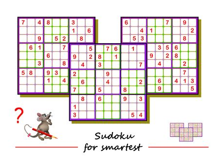 Sudoku puzzle. Big size, difficult level. Logic game for children and adults. Printable page for kids brain teaser book. Developing counting skills. IQ training test. Vector image.