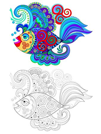 Illustration of stylized fantastic fish with Celtic maritime ornaments. Colorful and black and white page for coloring book for kids. Printable worksheet for print and decoration. Hand-drawn vector.