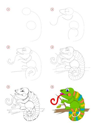 How to draw step by step a cute toy chameleon. Educational page for kids. Back to school. Developing children skills for drawing and coloring. Printable worksheet for baby book. Vector cartoon image.