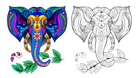 Colorful and black and white page for coloring book for kids. Illustration of stylized Indian elephant head. Printable worksheet for children. Pattern for modern oriental print. - vector.