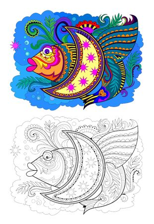 Colorful and black and white page for coloring book for kids. Illustration of stylized fantastic fish. Printable worksheet for children. Pattern for modern print and decoration. - vector.