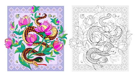 Colorful and black and white page for coloring book. Illustration of stylized fantastic snake. Printable worksheet for children. Pattern for modern print and oriental decoration. - vector.