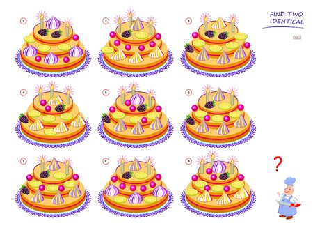 Logical puzzle game for children and adults. Need to find two identical cakes. Educational page for kids. IQ training test. Printable worksheet for brain teaser book. Vector cartoon image.
