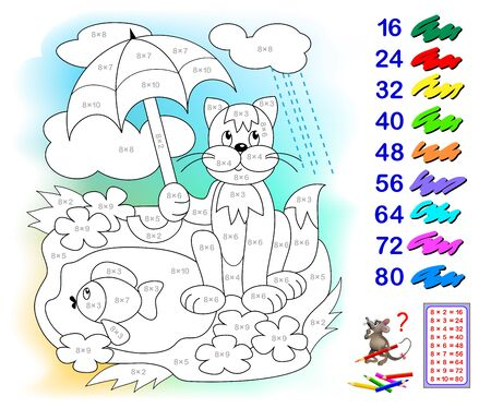 Multiplication table by 8 for kids. Math education. Coloring book. Paint the illustration corresponding to numbers. Logic puzzle game. Printable worksheet for children textbook. Back to school.