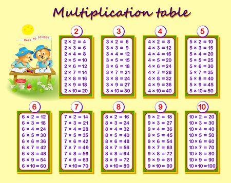 Tabla de multiplicar para niños. Educación matemática. Póster imprimible para libros de texto para niños. Página educativa para el libro de matemáticas para bebés. De vuelta a la escuela. Imagen de dibujos animados de vector.