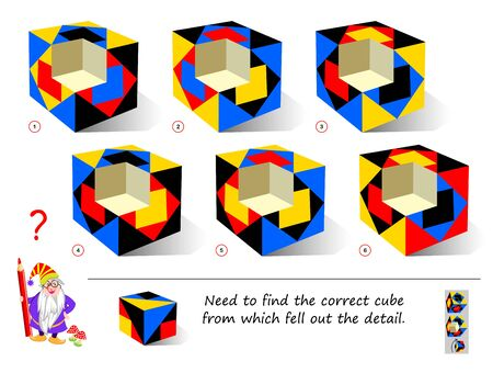 Logic puzzle game for smartest. Find the correct cube from which fell out the detail. Printable page for brain teaser book. Developing 3D spatial thinking skills. IQ training test. Vector image.