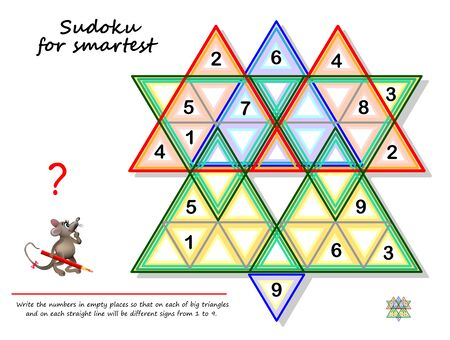 Logic Sudoku puzzle game for smartest. Write the numbers in empty places so that on each of big triangles  and on each straight line will be different signs from 1 to 9. Page for brain teaser book. Stock Illustratie