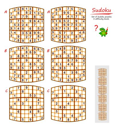 Set of funny Sudoku puzzles. 3 difficulty levels. Logic game for children and adults. Printable page for kids brain teaser book. Developing counting skills. IQ training test. Vector image.
