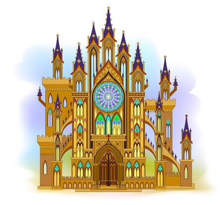 Fantastic Gothic castle from fairyland. Illustration of medieval cathedral with beautiful stained glass rose and windows. Middle ages in Western Europe. Modern print for travel company. Vector image.