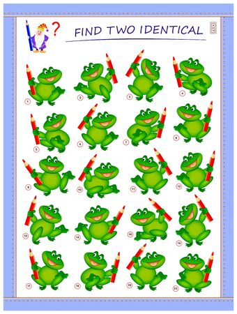 Logic puzzle game for children and adults. Need to find two identical frogs. Printable page for kids brain teaser book. Developing spatial thinking skills. IQ training test. Vector cartoon image.