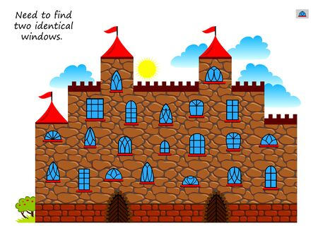 Logic puzzle game for children and adults. Need to find two identical windows. Printable page for kids brain teaser book. Illustration of medieval castle. IQ training test. Vector cartoon image. Illusztráció