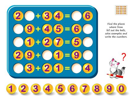 Logic puzzle game for children and adults. Place balls in to empty slots, solve examples and write the numbers. Printable page for kids brain teaser book. Math exercises on addition. IQ test. Illusztráció