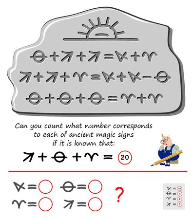Mathematical logic puzzle game for children and adults. Find the number for each of ancient magical signs. Printable page for brain teaser book. Developing kids counting skills. IQ test.