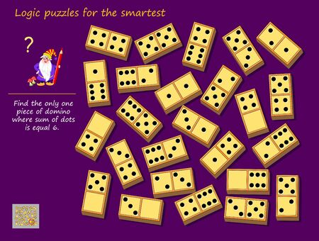 Logic puzzle game for children and adults. Find the only one piece of domino where sum of dots is equal to 6. Printable page for kids brain teaser book. Developing mathematical skills. IQ test. Illusztráció