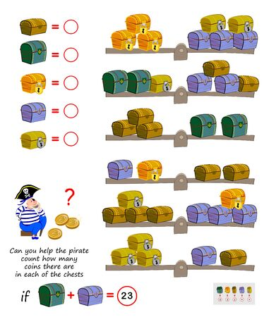 Mathematical logic puzzle game for children. Can you help the pirate count how many coins there are in each of the chests? Solve examples and write the numbers. Printable page for brain teaser book. Stock Illustratie