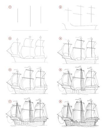 How to draw step by step sketch of fantastic medieval sail ship. Creation pencil drawing. Educational page for artists. Textbook for developing artistic skills. Hand-drawn vector by graphic tablet. Stock fotó - 137400128