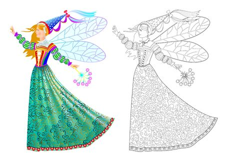 Colorful and black and white page for kids coloring book. Fantasy drawing of beautiful fairyland fairy in fashionable dress with magic wand. Worksheet for children and adults. Vector cartoon image.