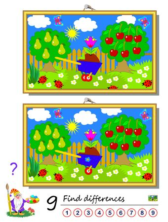 Find 9 differences. Illustration of summer garden. Logic puzzle game for children and adults. Printable page for kids textbook. Developing counting skills. IQ training test. Vector cartoon image.