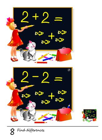 Find 8 differences. Illustration of girl studying math. Logic puzzle game for children and adults. Printable page for kids textbook. Developing counting skills. IQ test. Vector cartoon image. Stock Illustratie