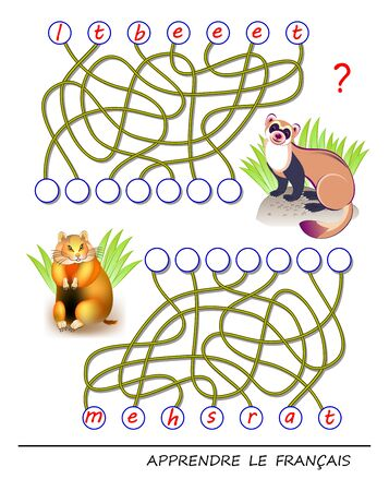 Learn French. Logic puzzle game with cute animals for study French language. Find correct places for letters, write them in relevant circles and read the word. Printable worksheet for kids textbook.