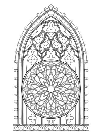 Black and white fantasy drawing for coloring book. Beautiful stained glass window with rose. Medieval architecture. Decoration in churches and castles. Worksheet for children and adults. Vector image.