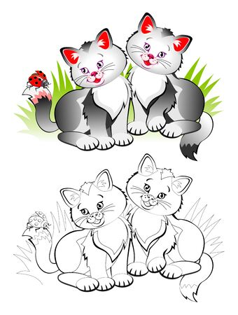 Colorful and black and white page for coloring book for kids. Illustration of two cute little smiling kittens. Printable worksheet for children textbook. Back to school. Vector cartoon image.