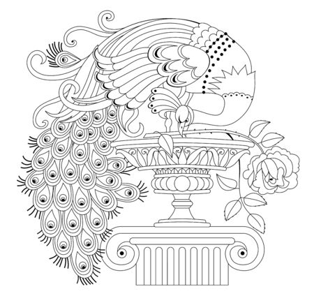 Illustration of beautiful peacock with rose and antique vase. Black and white page for kids coloring book. Pattern for modern print, embroidery, decoration. Fantastic bird. Hand-drawn vector image. Illusztráció