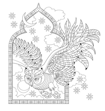 Illustration of owl flying from fairytale window. Black and white page for kids coloring book. Pattern for modern print, embroidery, decor. Fantastic eastern medieval bird. Hand-drawn vector image. Illusztráció