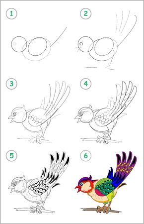 How to draw step by step a cute little bird. Educational page for kids. Back to school. Developing children skills for drawing and coloring. Printable worksheet for baby book. Vector cartoon image.