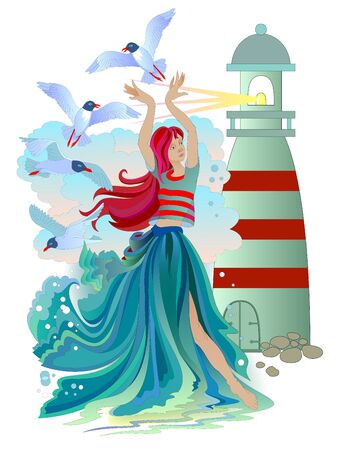 Illustration of marine fairy with seagulls, waves and a lighthouse. Beautiful sea princess. Poster for maritime company. Nautical background. Book cover for children fairy tale. Vector cartoon image. Illusztráció
