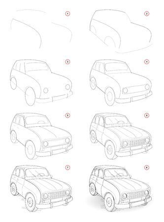 How to draw step by step sketch of imaginary cute little car. Creation pencil drawing. Educational page for artists. Textbook for artistic skills. Hand-drawn vector by graphic tablet. Stock Illustratie