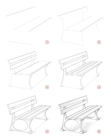 How to draw step by step sketch of imaginary bench in the park. Creation pencil drawing. Educational page for artists. Textbook for developing artistic skills. Hand-drawn vector by graphic tablet.