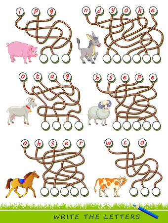 Logic puzzle game for study English with labyrinth. Find correct places and write the letters. Read the words. Learn names of domestic animals. Printable worksheet for kids textbook. Back to school.