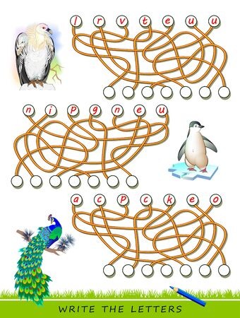Logic puzzle game for study English with labyrinth. Find correct places and write the letters. Read the words. Learn names of exotic birds. Printable worksheet for kids textbook. Back to school.
