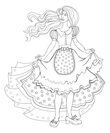 Black and white page for kids coloring book. Illustration of beautiful little princess in fashionable dress. Modern print, embroidery, decoration. Drawing for children. Hand-drawn vector image.